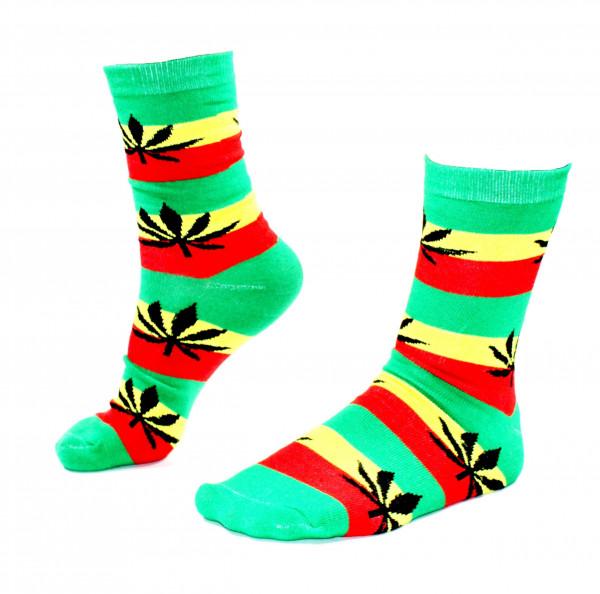 Damen Socken Lang Rasta Farben mit Hanfblättern Größe 36 - 42