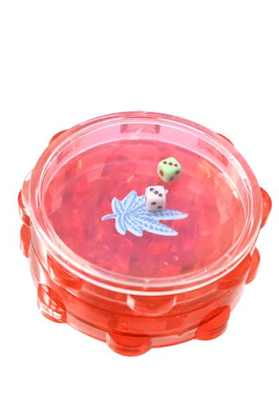 Acryl Grinder 2 Teilig mit Würfelspiel Rot