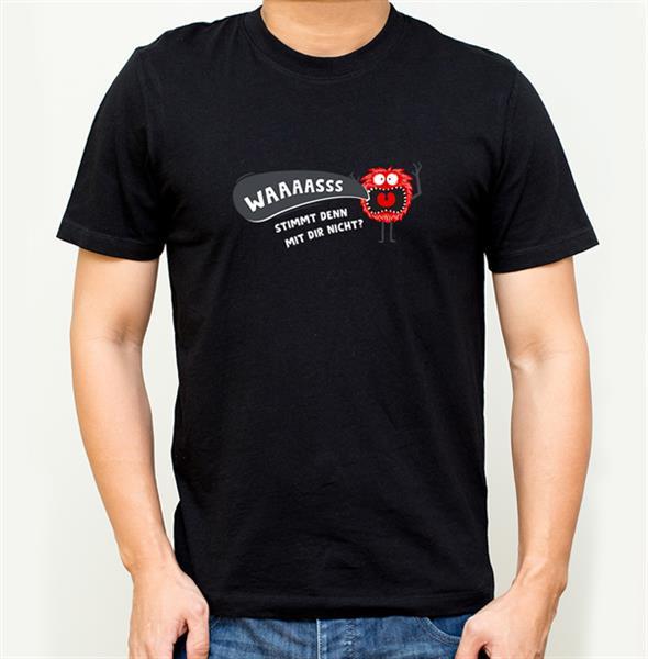 T-Shirt ´Was stimmt den mit dir nicht?´ Schwarz Größe XL