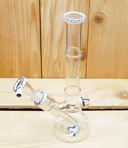 Smokerama Glasbong Beaker ZNDG White Blue fully Handwork