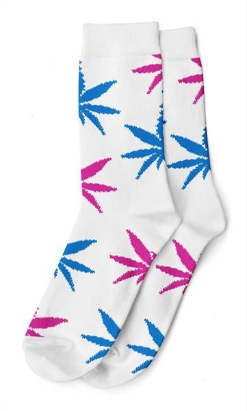 Damen Socken Lang Weiß mit blau pinken Hanfblättern Gr. 36-42