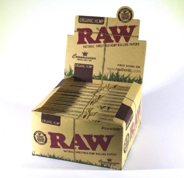 RAW Blättchen KS Connoiseur mit Tips 24er Box