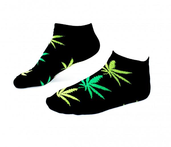 Damen Socken Kurz Schwarz mit grünen Hanfblättern Gr. 36-42