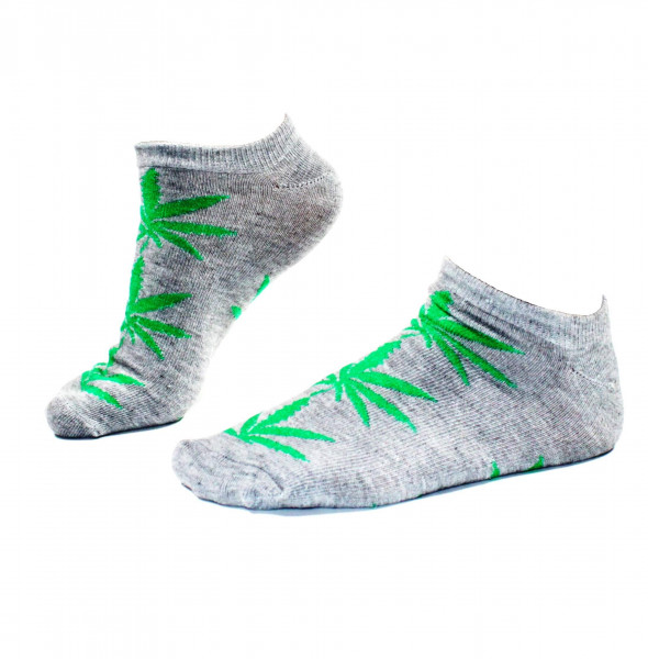 Damen Socken kurz Grau mit grünen Hanfblättern Gr. 36 - 42