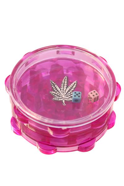 Acryl Grinder 2 Teilig mit Würfelspiel Pink