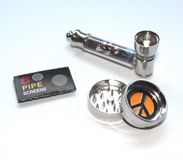 Smokerama Pur Pfeifen Set Metall mit Grinder Peace und Siebe 7cm Länge