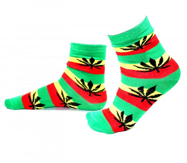 Herren Socken Lang Rasta Farben mit Hanfblättern Größe 40 - 45