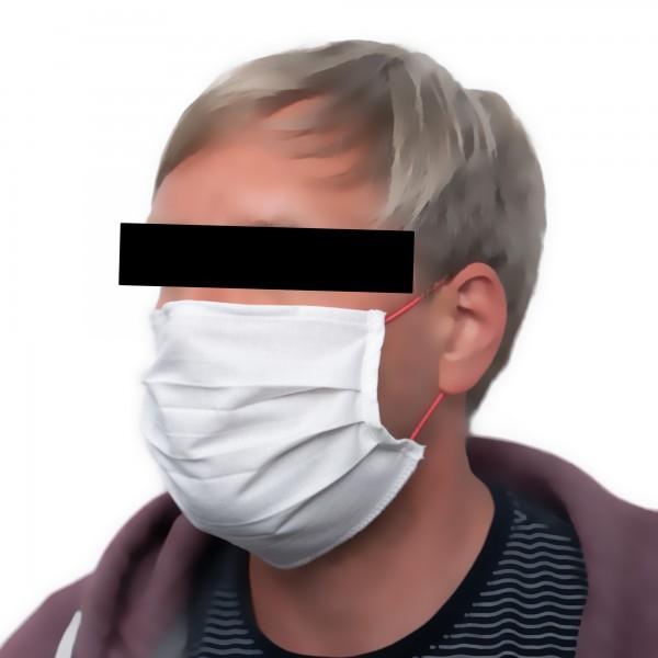 Mund-Nasen-Maske mit Nasenbügel & Rundgummi-Schlaufen, 100% Baumwolle, kochfest, wiederverwendbar