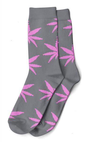 Damen Socken Lang Grau mit pinken Hanfblättern Gr. 36-42