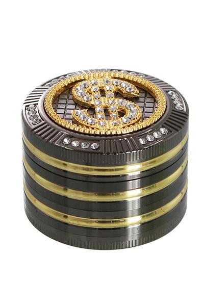 Grinder Bling Bling Dollar 4 Teilig 50mm mit Schaber