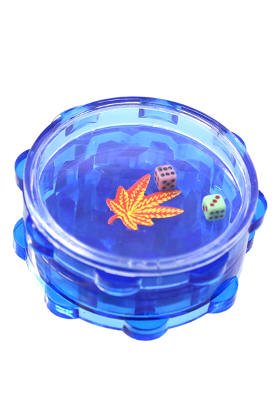 Acryl Grinder 2 Teilig mit Würfelspiel Blau