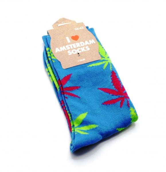 Damen Socken Lang Blau mit pinken und grünen Hanfblättern Gr. 36-42
